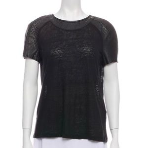 Maje Leather/Linen relaxed fit top
